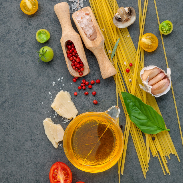 """Italian food concept. Spaghetti with ingredients sweet basil ,tomato ,garlic..."" stock image"