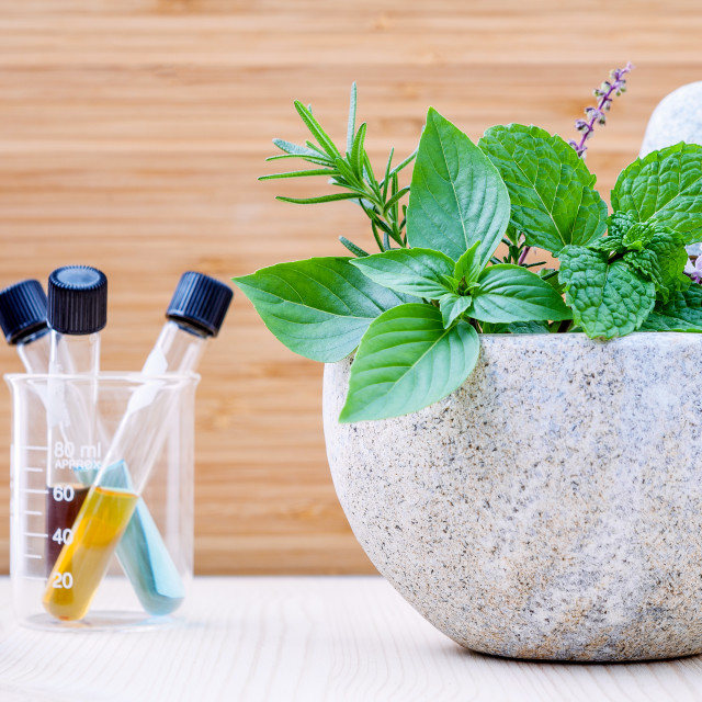 """Alternative health care and herbal medicine .Fresh herbs and aromatic oil..."" stock image"