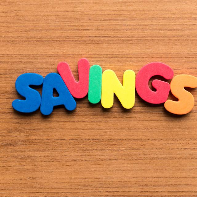 """""""savings colorful word"""" stock image"""