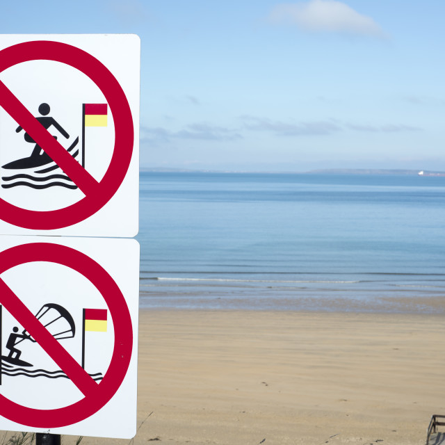 """take heed signs for surfers in ballybunion"" stock image"