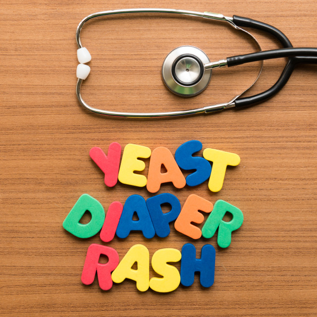 """yeast diaper rash colorful word with stethoscope"" stock image"