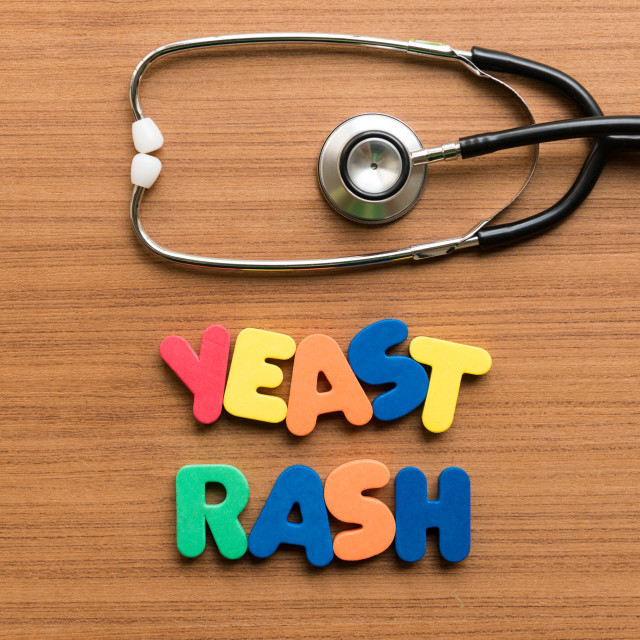 """yeast rash colorful word with stethoscope"" stock image"