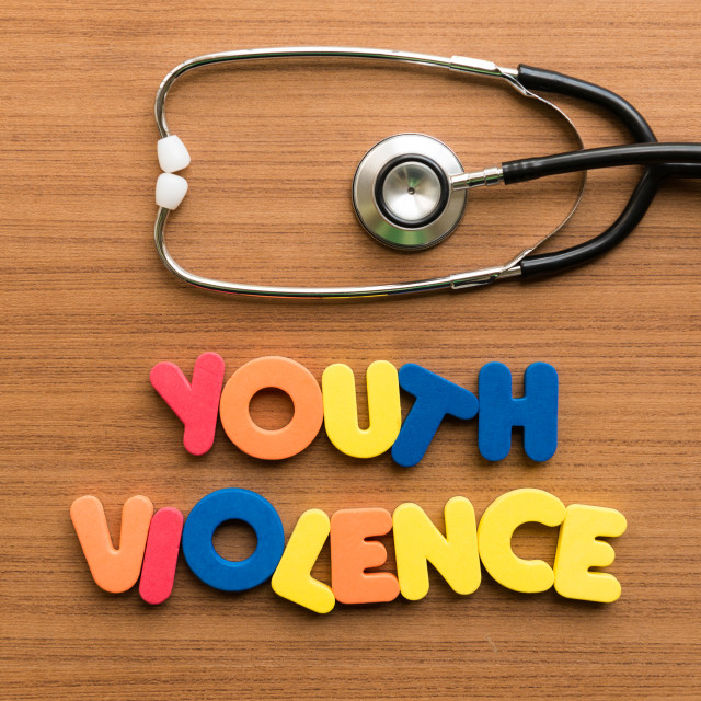 """""""youth violence colorful word with stethoscope"""" stock image"""