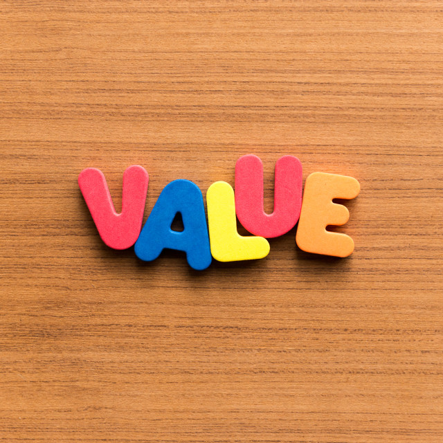 """value colorful word"" stock image"