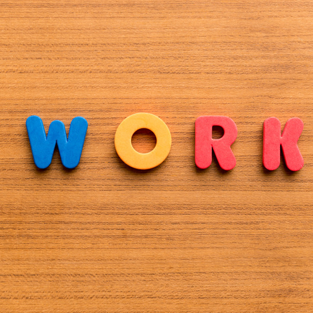 """""""work colorful word"""" stock image"""