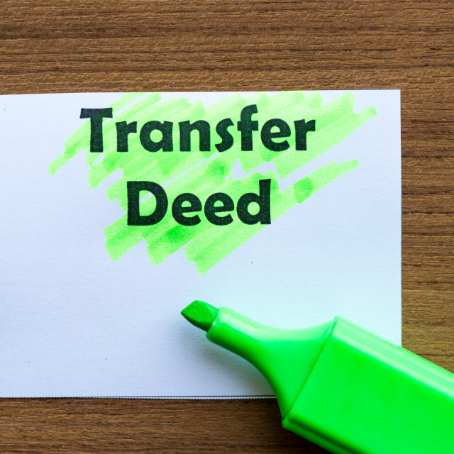 """transfer deed"" stock image"