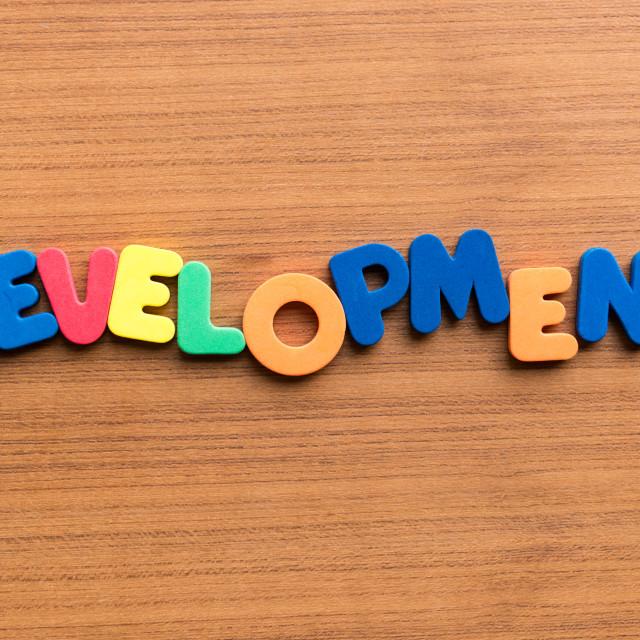 """development colorful word"" stock image"