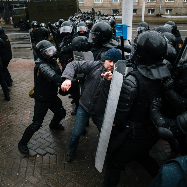 """Belarusian people participate in the protest against the decree 3 in Minsk"" stock image"