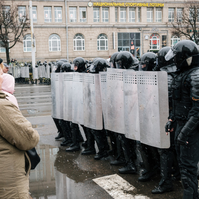 """Special police unit with shields against ordinary citizens and protesters in Minsk"" stock image"