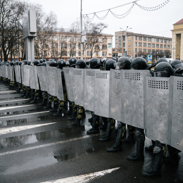 """Special police unit with shields against protesters in Minsk"" stock image"