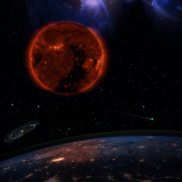 """""""Dying Sun over the dark planet Earth"""" stock image"""