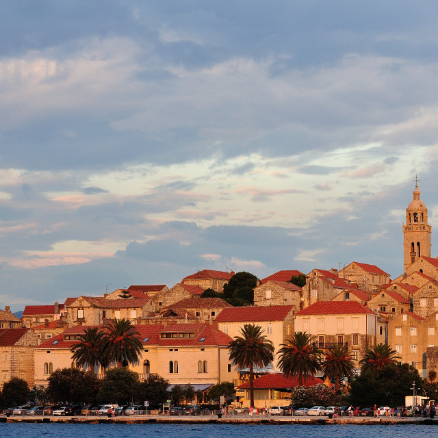 """Sunset over Korcula Town, Croatia"" stock image"