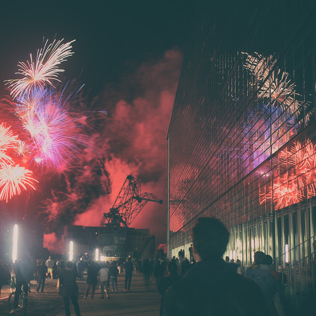 """Fireworks on Bastille Day in Strasbourg"" stock image"