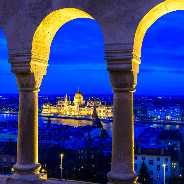 """""""The Hungarian parliament in Budapest at night"""" stock image"""