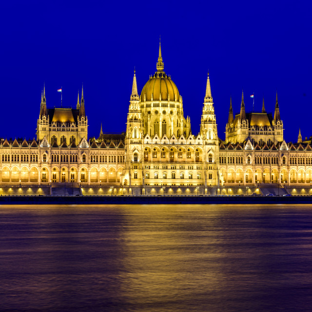 """Hungarian parliament in Budapest blue hour"" stock image"