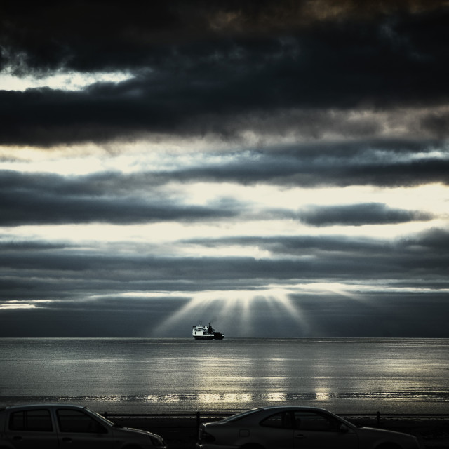 """Ferry leaving harbour in early morning"" stock image"