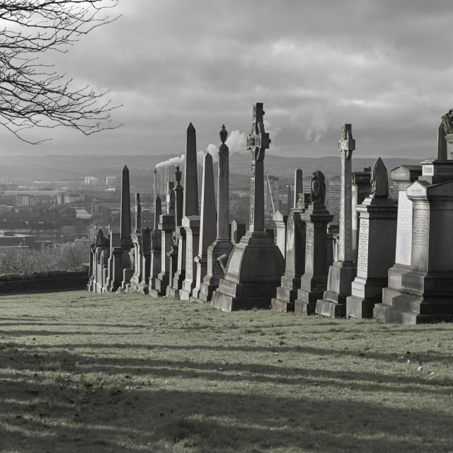 """Glasgow Necropolis overlooking the City"" stock image"