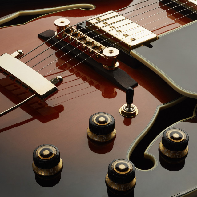 """""""Ibanez archtop guitar detail"""" stock image"""