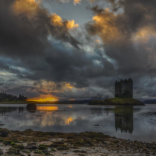 """""""Sunset at Castle Stalker"""" stock image"""