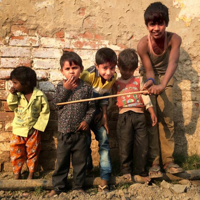 """Rajashtani street kids"" stock image"