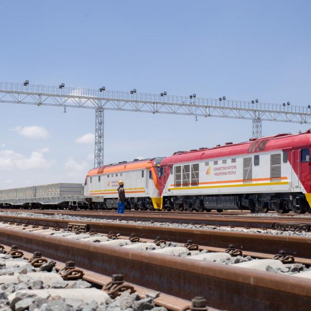 """Train #CelebrateAfrica"" stock image"