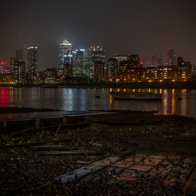 """Canary Wharf At Night (Upright)"" stock image"