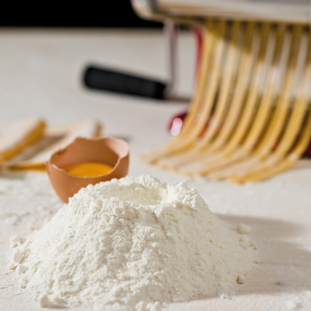 """Ingredients for tagliatelle pasta"" stock image"