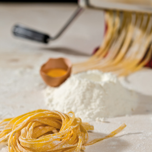 """Tagliatelle pasta and its ingredients"" stock image"