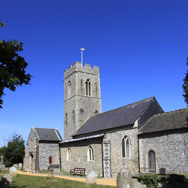"""""""St Micheals parish church, Sutton village, Norfolk county; England; UK"""" stock image"""