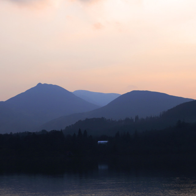"""Sunset over Derwentwater lake, Keswick, Lake District National Park, Cumbria..."" stock image"