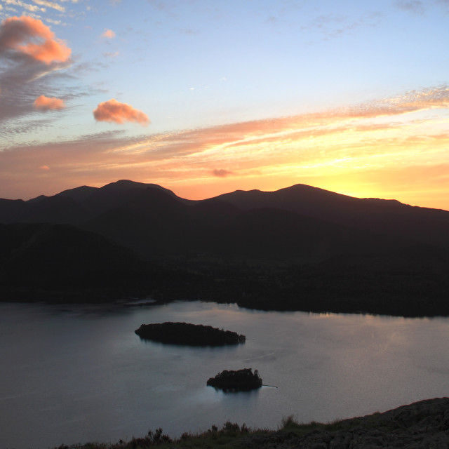 """Summer, June, July, Sunset over Derwentwater, Keswick, Lake District National..."" stock image"