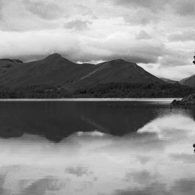 """Mountain fells reflections in Derwentwater, Keswick, Lake District National..."" stock image"