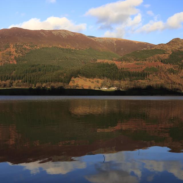 """Spring February, March, Skiddaw Fell, Bassenthwaite Lake, Cumbria, Lake..."" stock image"