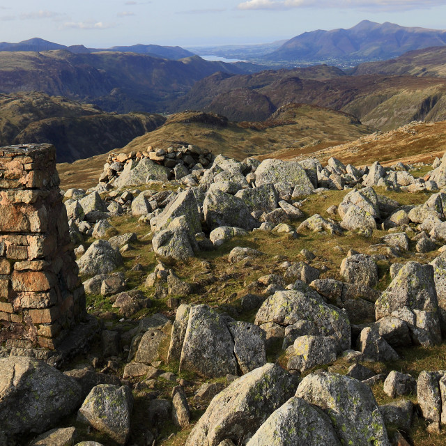 """Summit cairn on High Raise Fell, Great Langdale valley, Lake District..."" stock image"