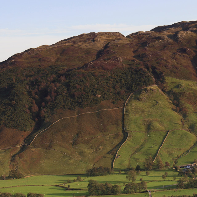 """Side Pike Fell and ridge, Great Langdale valley, Lake District National Park,..."" stock image"