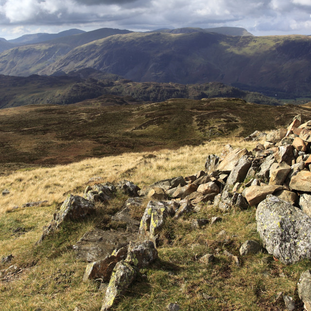 """Summit cairn, High Seat Fell, Lake District National Park, Cumbria County,..."" stock image"