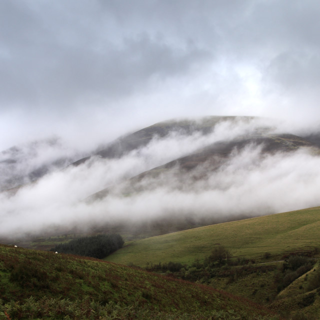 """Misty morning over Skiddaw fell, Keswick, Lake District National Park,..."" stock image"
