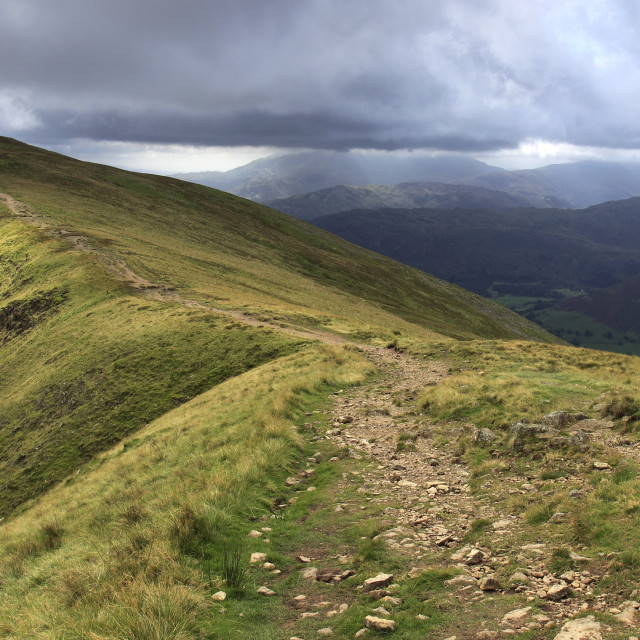 """Landscape view over the Summit ridge of Great Rigg fell, Fairfield Horseshoe..."" stock image"
