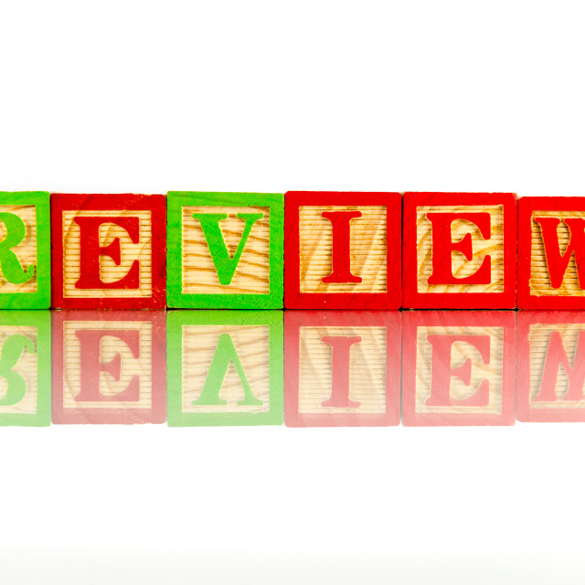 """review word reflection on white background"" stock image"
