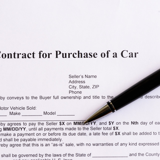 """""""contract for purchase of a car"""" stock image"""