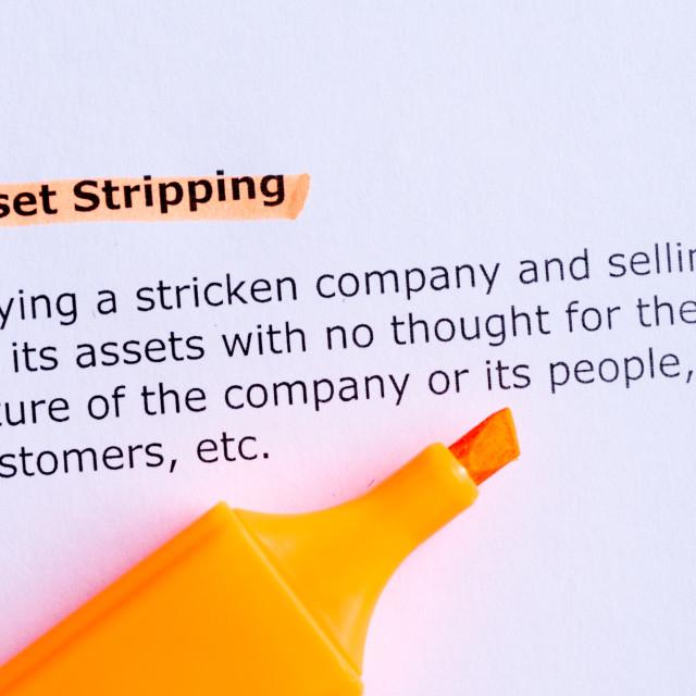 """asset stripping"" stock image"
