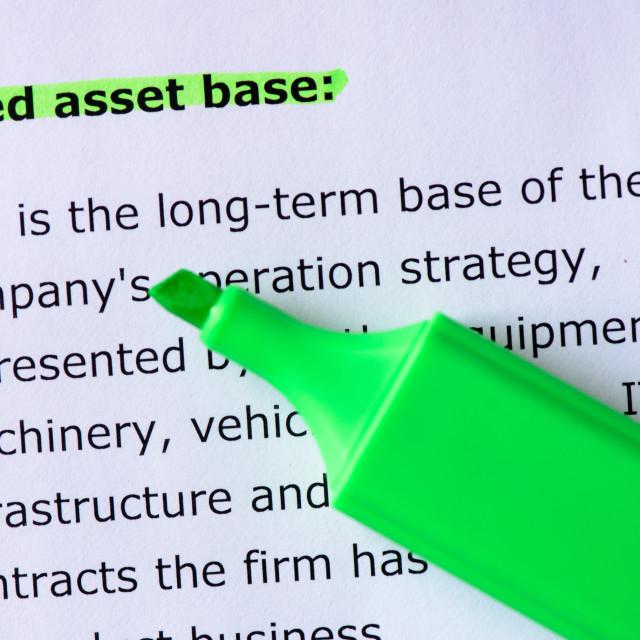 """""""Fixed asset base"""" stock image"""