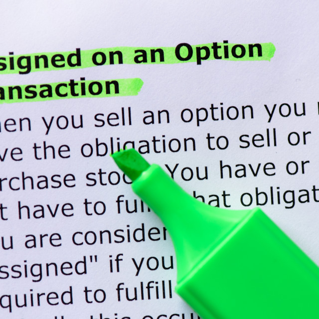 """Assigned on an Option Transaction"" stock image"