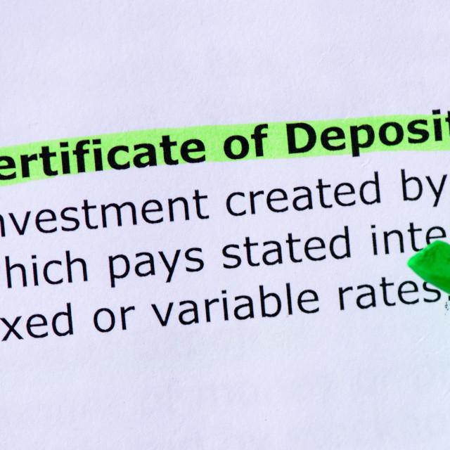"""Certificate of Deposit"" stock image"