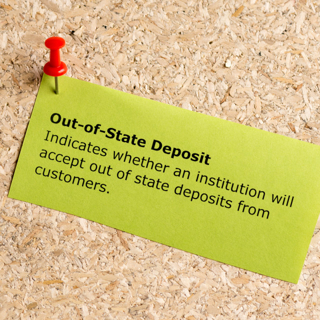 """""""out of state deposit"""" stock image"""