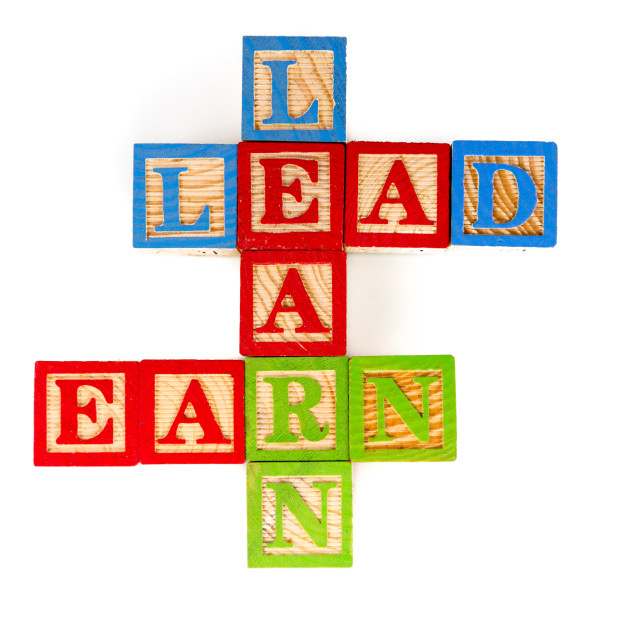 """""""Learn, Lead and Earn"""" stock image"""
