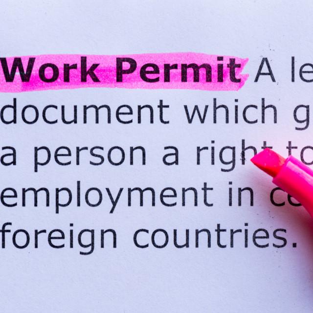 """""""work permit"""" stock image"""