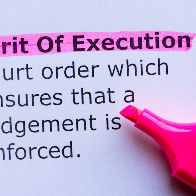 """""""writ of execution word highlighted on the white background"""" stock image"""