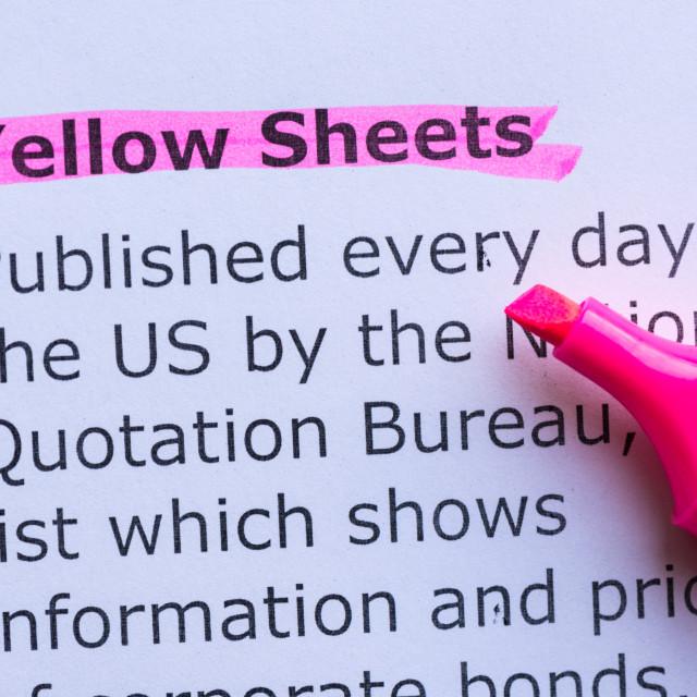 """yellow sheets"" stock image"