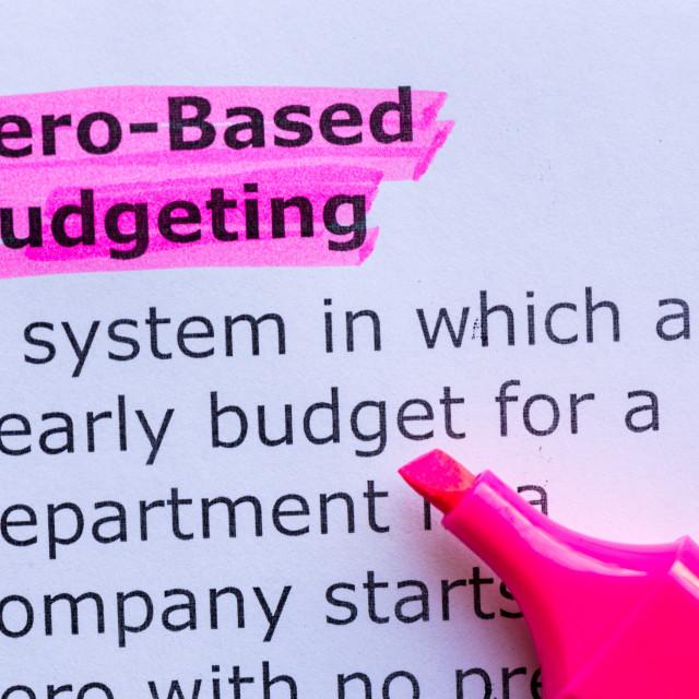 """""""zero based budgeting"""" stock image"""